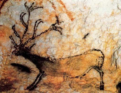 Pintura de ciervo en la cueva de Lascaux