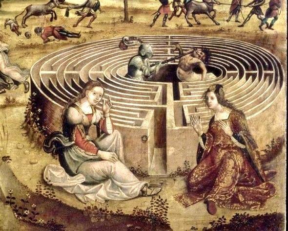 """🖼️ """"Teseo y el minotauro"""" (1510) 👨🏻🎨 Maestro Cassoni Campana. DÉDALOS, ÍCARO Y EL ARTE"""